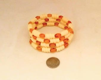 AAA Amber and Cow Bone Memory Wire Bracelet