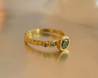 14K yellow gold handmade ring set with 0.20ct Rough diamond and 2 White diamond.Free shipping