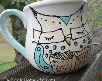 Owl mug book lovers pottery mug cup owl wearing glasses reading teacher librarian owl
