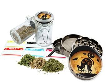 """Leaf Black Cat - 2.5"""" Zinc Alloy Grinder & 75ml Locking Top Glass Jar Combo Gift Set Item # G022015-033"""
