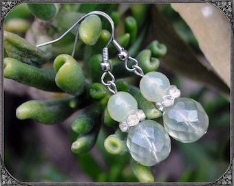 Earrings Soft Green - silver