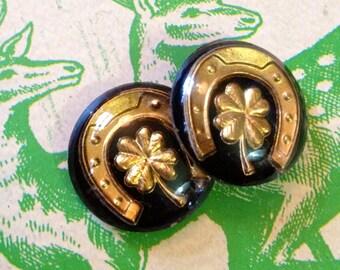 2pcs GOOD LUCK CABOCHONS Vintage Western Germany Flatback 18mm