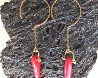 Spike Coral Earrings & 14k Gold Filled, Sterling Silver, Made in Hawaii *Free US Shipping*