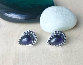 Iolite Teardrop Studs / Sterling Silver Gemstone Stud Earrings / Purple Stone Studs / Simple Studs / Teardrop Earrings / Minimal Gem Stud