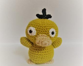 READY TO SHIP- Psyduck Pokemon Crochet Amigurumi Plush Doll