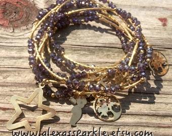 Amethyst color Beaded Charm Bracelet set with Gold Plated Charms - Pulseras Semanario color amatista con dijes Chapa de Oro