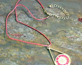 "Mexican Silver ""Coin"" Pendant Necklace with Pink Enamel Inlaid with Abalone Chips on Pink Hemp with Extension Chain"