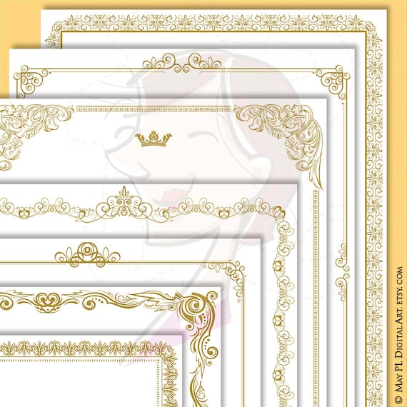 Certificate Borders Clipart French Design 8x11 Gold Frames