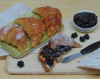Croissants with blackberry marmalade 1:12 scale for dollhouse