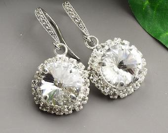 Clear Crystal Wedding Earrings - Swarovski Earrings - Bridesmaid Earrings - Crystal Halo Earrings - Wedding Jewelry - Bridal Earrings