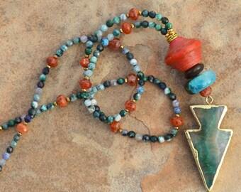 Arrow Pendant Agate Beaded Necklace