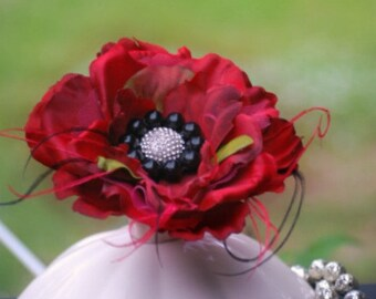 Classy Red Black Silk Flower Brooch Pin / Fascinator Hair Clip / Comb. Sophisticated Handmade Spring Wedding Stylish Lapel Corsage Barrette