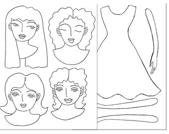 Printable paper-doll coloring pages