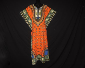vintage dashiki dress 1980s boho caftan african gown ethnic dress angel wing festival tunic plus size OSFA