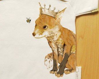 Organic fox onesie, woodland red fox baby clothes, gender neutral, cute, crown