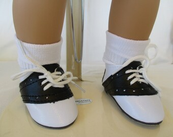 """50's Saddle Shoes and Bobby Socks to fit your 18"""" American Girl Doll in Black and White"""