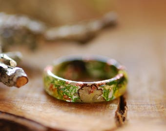 Terrarium Ring Moss Resin Ring Outlander Ring Mountain Ring Woodland Botanical resin ring Forest jewelry Fairy ring Gift for Him For Her