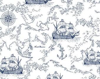 Sailing Ship, Seafarers Map, Ship Toile - Indigo Coastal by Jennifer Parker - 3992 70 - Priced by the half yard