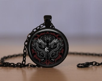 Dragons Pendant Necklace Yin And Yang Chinese Philosopy Mens Womens