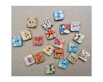 4 Wooden Floral Mixed Buttons Painted Wooden Button 2-hole Button 15mm Buttons Craft Buttons Sweater Button Slipper Button Whimsical Buttons