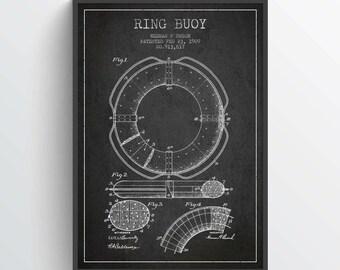 1909 Ring Buoy Patent, Nautical Poster, Nautical Print, Patent Art Print, Patent Print, Home Decor, Gift Idea, NA22P
