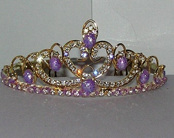 free shipping purple cabochon Gold plated   tiara with combs wedding bridal prom flower girl birthday party