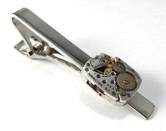 Steampunk Tie Clip, Mens Gift Mechanical Watch Movement Tie Clip - Hamilton - Silver Tie Bar