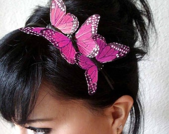 pink butterfly headband - feather butterfly headpiece - bridal headband - hair accessories for women - bohemian hair accessory - BRANDY