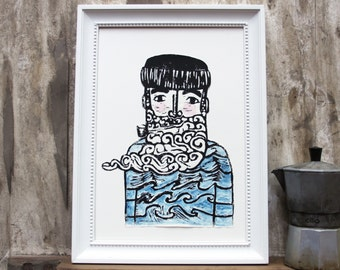 fisherman print linoprint poster