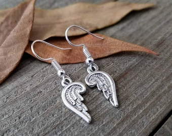Angel wing earrings - supernatural angel earrings - feather angel earrings - silver angel wing - angel wing earrings - supernatural earrings