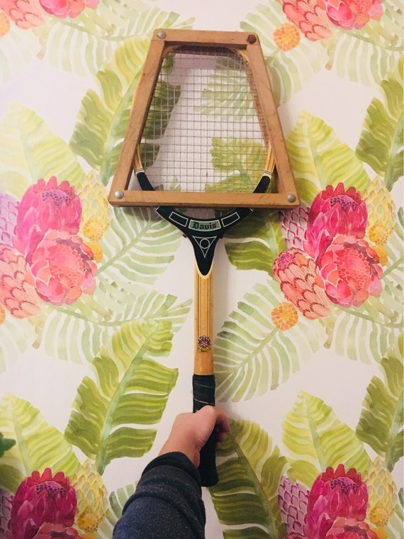 Vintage Custom Made Davis Crossgrain Tennis Racket with Original Wooden Grib + Press Cover - Antique Tennis Racket Home Decor