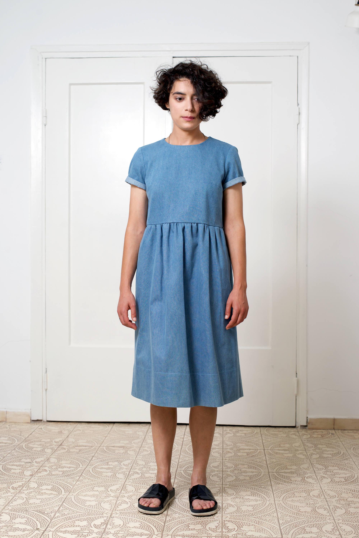 Denim dress Light blue dress Loose dress Women\'s dress