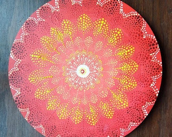 Red Mandala on Canvas