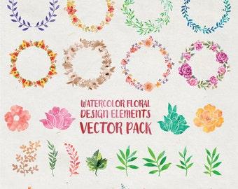 Watercolor Flower Clipart, Flower Watercolor Clipart, Watercolor Wreath Clipart Clip Art PNG Vector EPS, AI Design Elements Digital Download