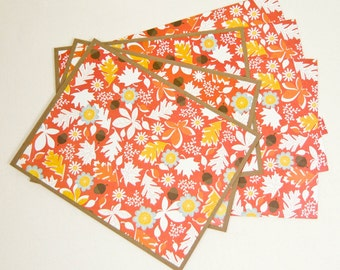 Autumn Leaves Patterned Notecards - Set Of 3