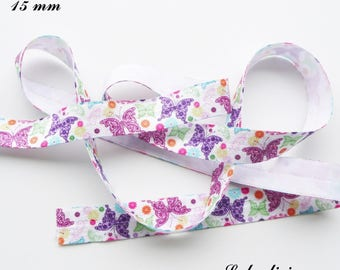 Butterfly pink green purple 15 mm white elastic band