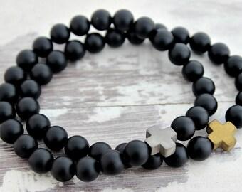 New! Cross Bracelet Onyx or Lava Mens Bracelet Mens Gift Boyfriend Gift Mens Beaded Bracelet Husband Gift Brother Gift Dad Gifts Father Gift