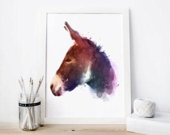 Donkey print Donkey watercolor Donkey painting Donkey printable Donkey nursery Donkey Wall Art, nursery animal Decor Donkey print Donkey art