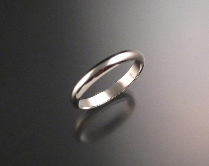 14k White gold 3 mm Smooth Half round Wedding band Handmade in your Size