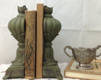 Antique Style Bookends Up Cycled Bookends Green Bookends Chalk Paint Bookends Bookcase Art Office Decor Vintage Bookends