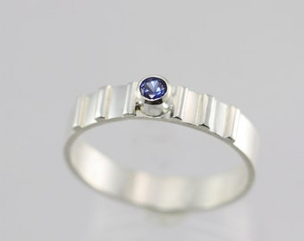1 Stone w-6 Lines Ring (Sapphire) Made to Order