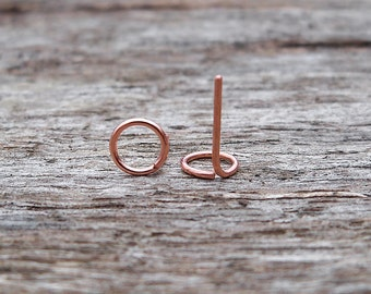 Open Circle Copper Studs - Circle Stud Earrings, Copper Stud Earrings, Copper Earrings, Stud Earrings, Studs