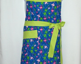 Pink Flamingo Plus Size Apron, Blue Green, Palm Trees, Custom Personalized With Name, No Shipping Fee, Ready To Ship TODAY, AGFT 1077
