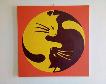 CATS (YIN E YANG chinese Tao) - Modern Painting artwork hand-painted ( three size available )