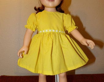 Bright solid yellow dress for 18 inch dolls - ag332