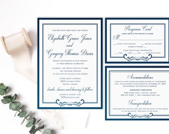 Wedding Invitation Set,  Blue Wedding Invitations, Simple Wedding Invitation, Navy Wedding Invitation Suite, Blue and White Wedding Set DIY