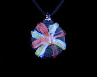 Handmade borosilicate glass floral burst implosion pendant