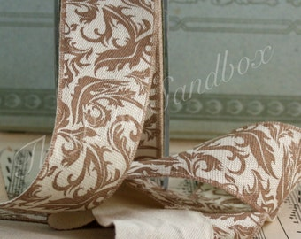 """Taupe Damask Ribbon, 1.5"""" wide by the yard, Linen Ribbon"""