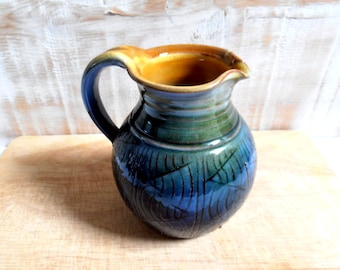 ceramic pitcher glazed blue/green vintage signed