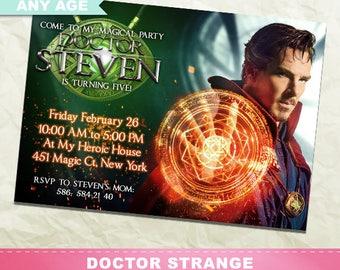 Doctor Strange Invitation, Dr Strange Birthday Party, Superhero Printable Invite, Digital Party Card, Kids Birthday, Any Age, INV-014